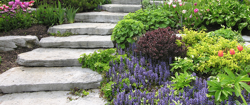 Natural Stone Staircase by Hollandale Landscaping and Garden Centre LTD. In Quinte, Ontario